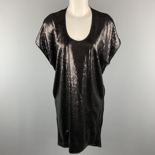 RAG & BONE Size 0 Black Lyocell Blend Sequined Draped Tunic Textured Sleeveless Dress