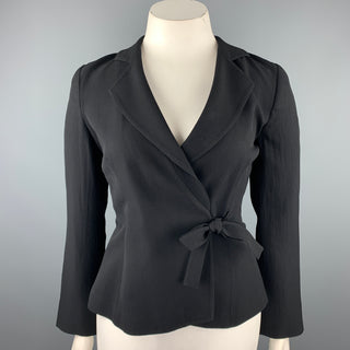 GIORGIO ARMANI Size 10 Black Ribbed Triacetate Blend Jacket