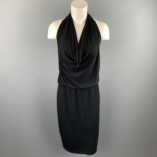 ST. JOHN Size 6 Black Acetate Blend Halter Cocktail Dress