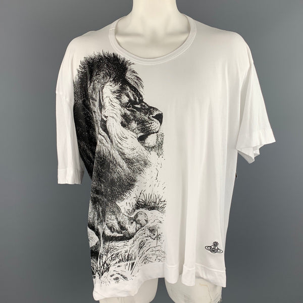 VIVIENNE WESTWOOD ANGLOMANIA Size One Size White Lion Graphic Cotton Scoop Neck T-shirt