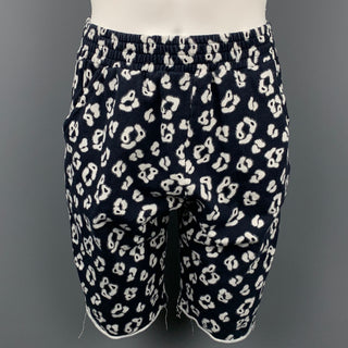 HOUSE OF HACKNEY Size M Navy & White Print Cotton Sweat Shorts
