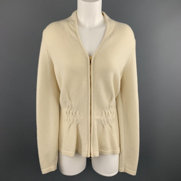 ESCADA Size M Cream CashmereV Neck Cable Knit Panel Zip Cardigan