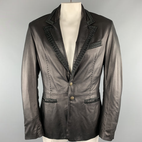 JUST CAVALLI Size XXL Black Solid Leather Peak Lapel Jacket