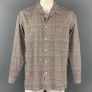 RALPH LAUREN Purple Label Size L White & Brown Houndstooth Cotton Button Up Long Sleeve Shirt