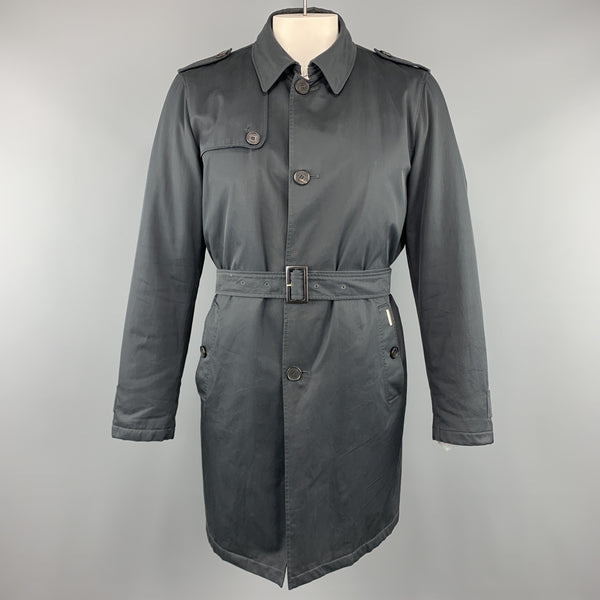 ALLEGRI Navy Nylon Belted Removable Liner Belted Trenchcoat