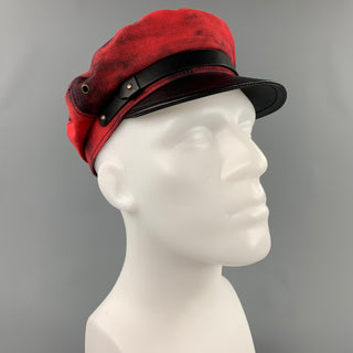 DSQUARED2 Size S Red & Black Cotton Leather Biker Hat