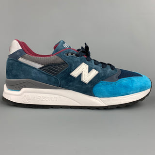 NEW BALANCE 998 Size 10.5 Blue Suede Color Block Sneakers