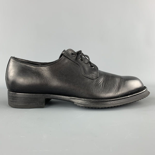 PRADA Size 9 Black Leather Lace Up Derby Dress Shoes