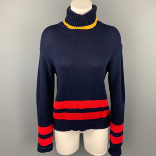 POLO by RALPH LAUREN Size S Navy Knitted Stripe Cotton Turtleneck Pullover