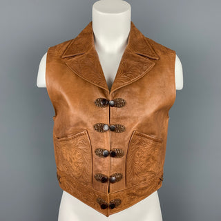 RALPH LAUREN Blue Label Size M Camel Embossed Leather Western Vest