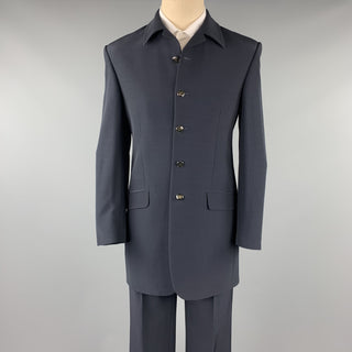 CARLO PIGNATELLI Size 38 Long Navy Acetate Blend Collar Suit