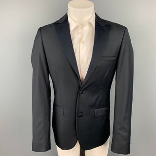 CALVIN KLEIN COLLECTION Size 36 Black Wool Peak Lapel Sport Coat