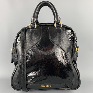 MIU MIU Black Patent Leather Shoulder Handbag