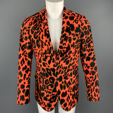 R13 Size 38 Orange & Black Leopard  Print Cotton Velvet Notch Lapel Sport Coat