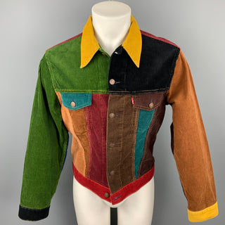 LEVI'S VINTAGE CLOTHING Big E Size M Size M Multi-Color Corduroy Color Block Trucker Jacket