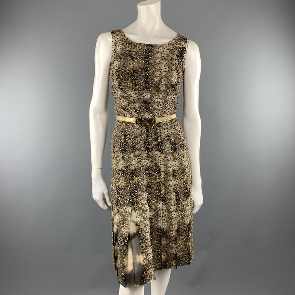 OSCAR DE LA RENTA Size 2 Green Tie Dye Taupe Embroidered Beaded Cocktail Dress