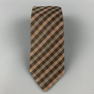 ARMANI COLLEZIONI Brown Plaid Silk Skinny Tie