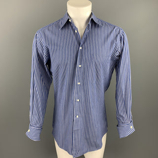 ERMENEGILDO ZEGNA Size S Navy Stripe Cotton French Cuff Long Sleeve Shirt