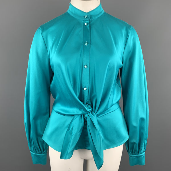ESCADA Size 12 Turquoise Cotton Sateen Band Collar Tied Blouse