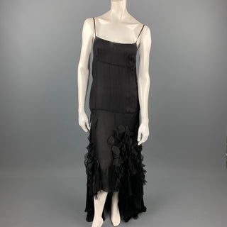 VINTAGE Size 6 Black Rhinestone Applique Silk Spaghetti Strap Cocktail Dress