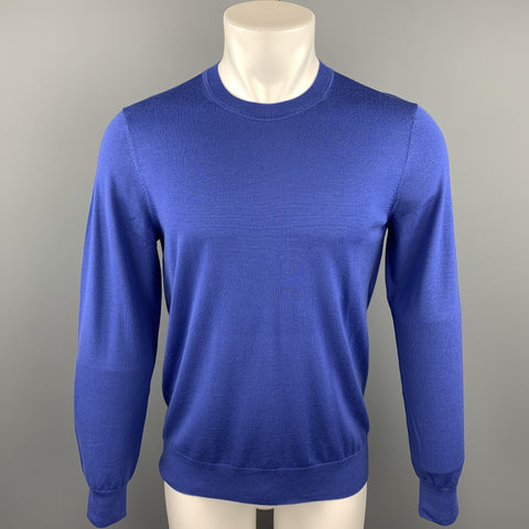 THEORY Size M Blue Wool Crew-Neck Pullover