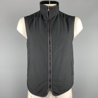 EMPORIO ARMANI Size 40 Black Polyester Zip Up Vest