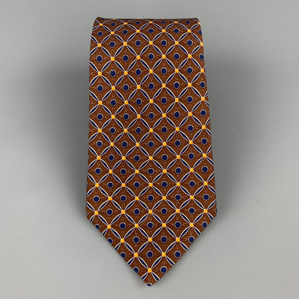 KITON Brown & Navy Pattern Silk Tie
