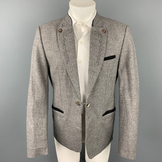 ROFAN TRACHT Size 38 Grey Embroidery Wool Lapel Sport Coat