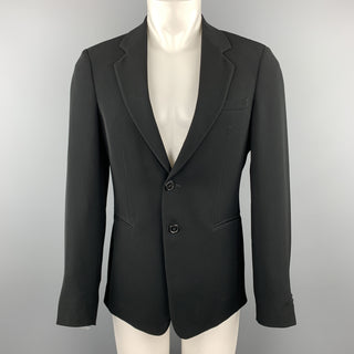 EMPORIO ARMANI Size 38 Black Polyester Notch Lapel Double Buttoned Sport Coat