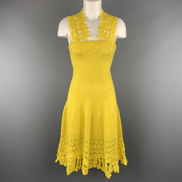 OSCAR DE LA RENTA Size XS Yellow Cotton Hand Knit Crochet Lace Sleeveless Cocktail Dress