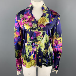 ST. JOHN Size 12 Purple MultiColor Floral Silk Rufle Blouse