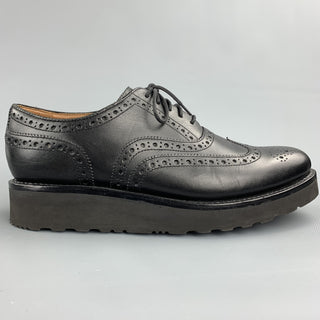 GRENSON Size 11 Black Perforated Leather Extra Light Wingtip Lace Up Shoes