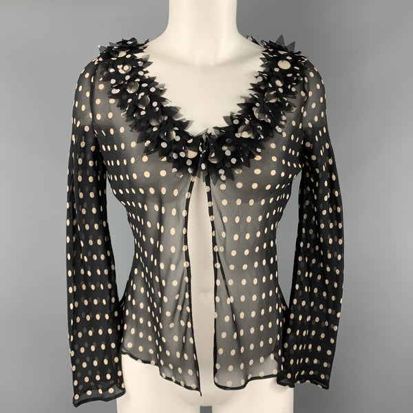 MOSCHINO Size 8 Black & Cream Polk Dot Silk Floral Cardigan Blouse