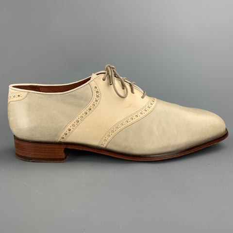 FLORSHEIM Size 11 Ivory Two Toned Leather Lace Up Shoes
