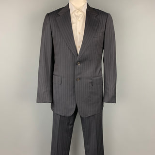 GUCCI Size 42 Regular Black Stripe Wool Notch Lapel Suit