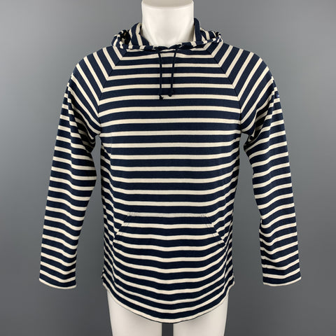 SAINT JAMES Size M Navy & Cream Stripe Cotton Hooded Kangaroo Pockets Sweatshirt