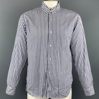 ENGINEERED GARMENTS Size L Navy & White Stripe Cotton Long Sleeve Shirt