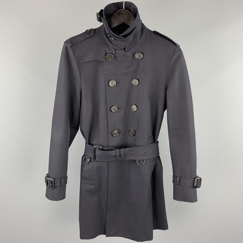 BURBERRY PRORSUM Size 34 Navy Cotton Double Breasted Belted Trenchcoat