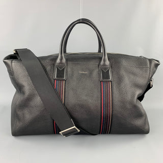 PAUL SMITH Black Leather Pebble Grain Weekender Bag