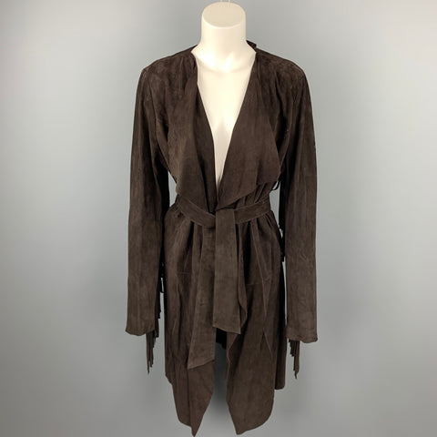 VINTAGE Size M Brown Suede Fringe Belted Open Front Coat