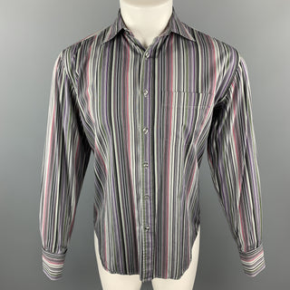 PS by PAUL SMITH Size S Gray & Black Stripe Cotton French Cuff Long Sleeve Shirt