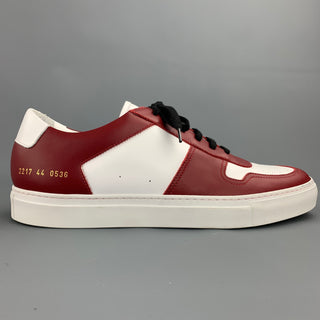 COMMON PROJECTS Size 11 White & Burgundy Color Block Leather Lace Up Sneakers