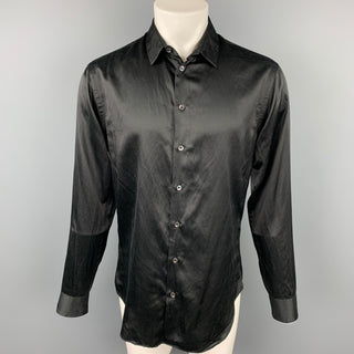 GIORGIO ARMANI Size M Black Silk / Cotton Button Up Long Sleeve Shirt