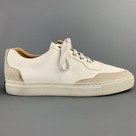 HARRYS OF LONDON Size 7 White Leather Suede Trim Sneakers