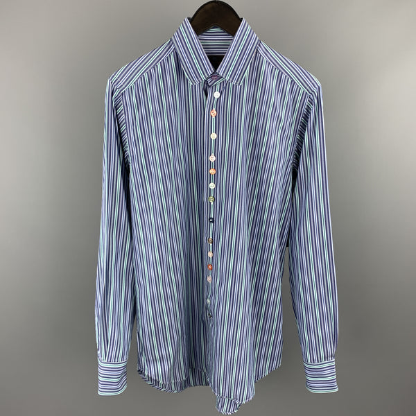 ETRO Size S Blue & Green Stripe Cotton Button Up Long Sleeve Shirt