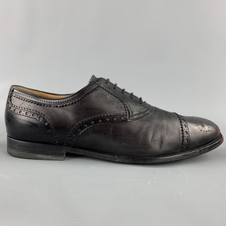 GUCCI Size 10.5 Black Perforated Leather Cap Toe Lace Up Shoes