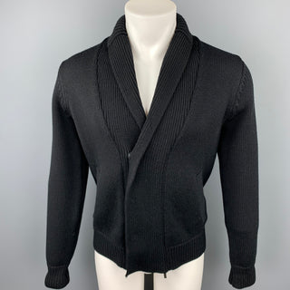 ARMANI COLLEZIONI Size S Black Knitted Virgin Wool Shawl Collar Knitted Cardigan