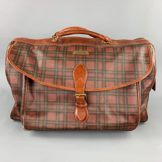 Vintage POLO by RALPH LAUREN Brown & Black Plaid Coated Canvas Travel Bag