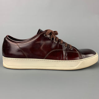 LANVIN Size 12 Burgundy & White Patent Leather Cap Toe Sneakers