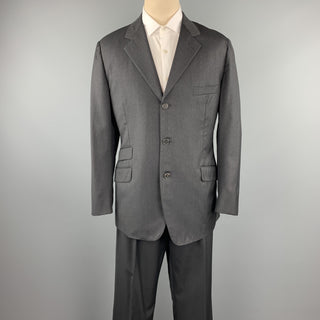 HERMES Size 44 Regular Charcoal Twill Wool Notch Lapel Suit